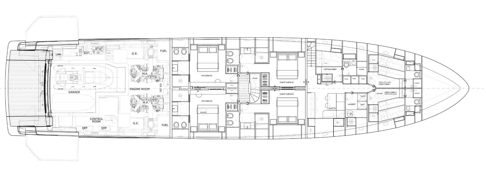 Sanlorenzo Yachts SD118 Нижняя палуба