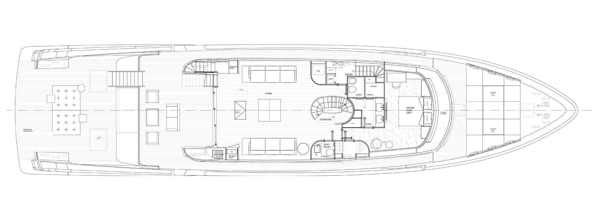Sanlorenzo Yachts SX112 Главная палуба  версия C