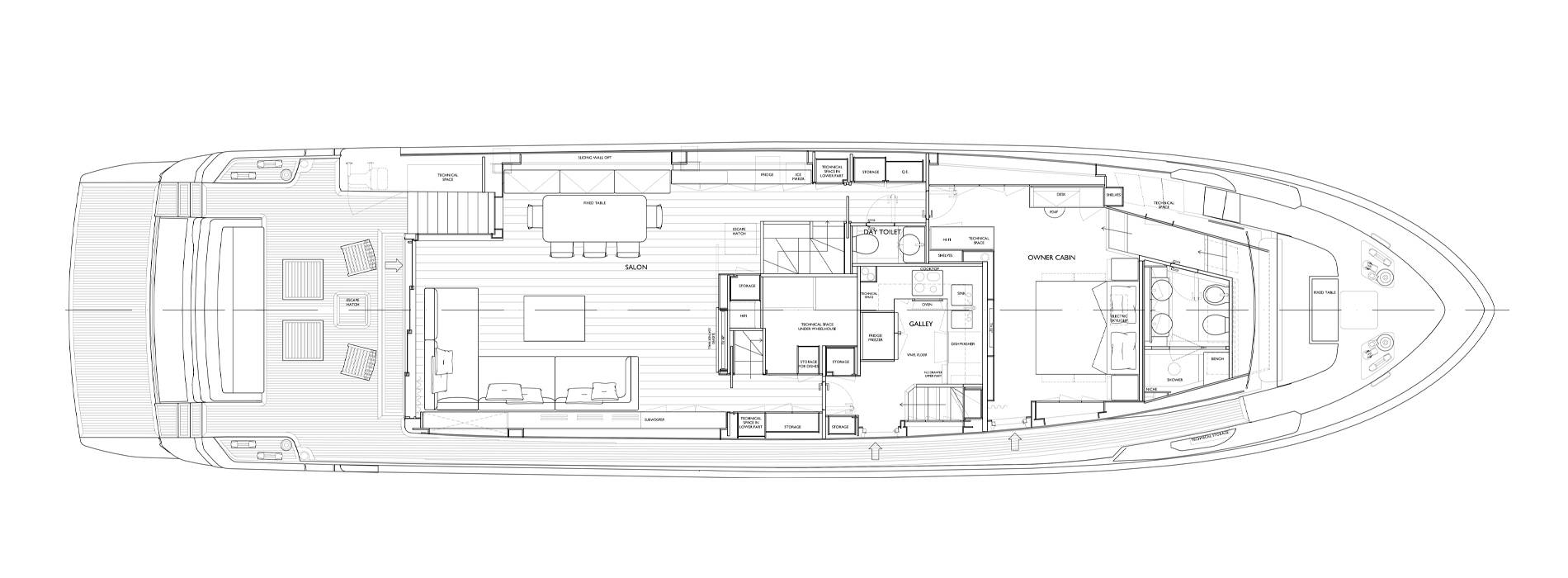 Sanlorenzo Yachts SL90 Asymmetric Главная палуба