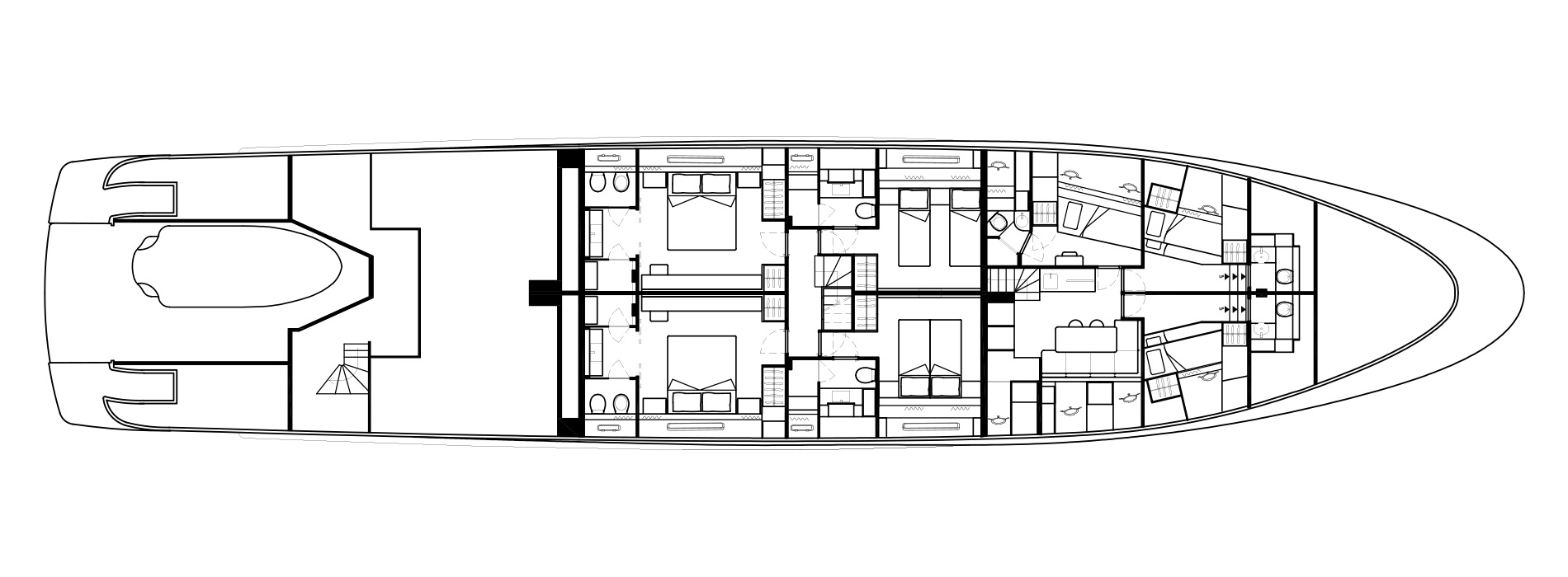 Sanlorenzo Yachts SD126 Нижняя палуба версия A bis