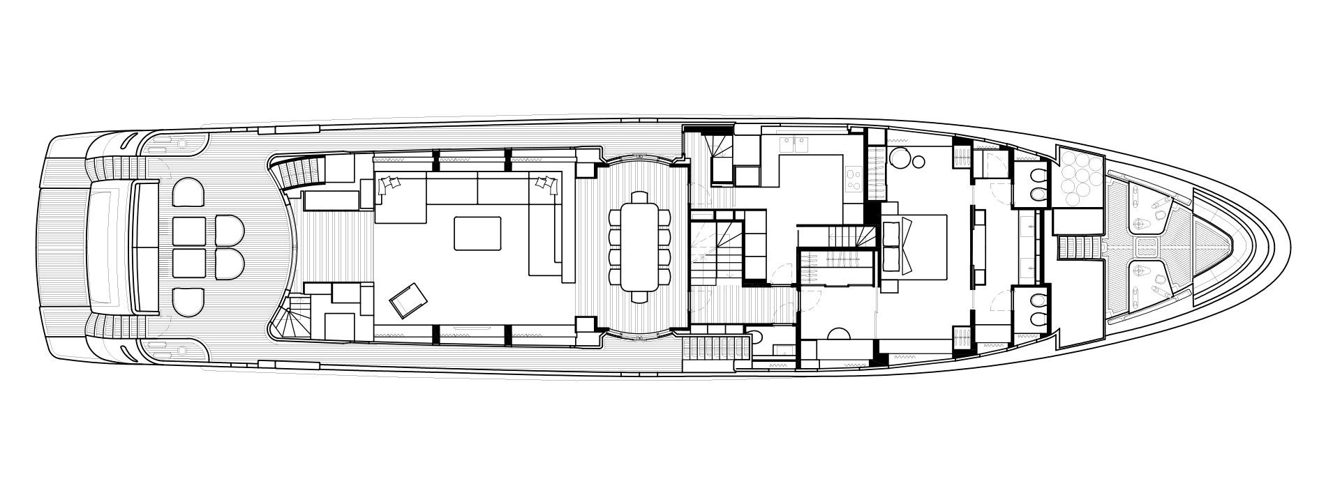 Sanlorenzo Yachts SD126 Главная палуба версия A
