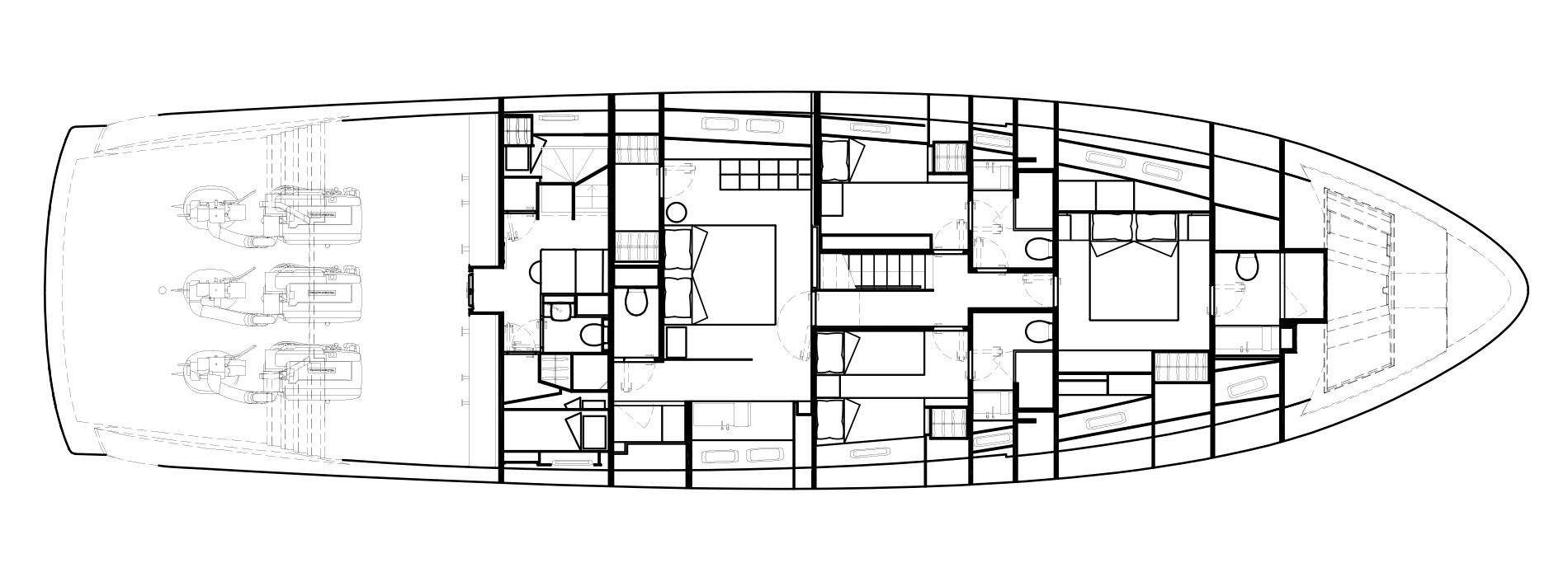 Sanlorenzo Yachts SX88 Нижняя палуба версия Lissoni