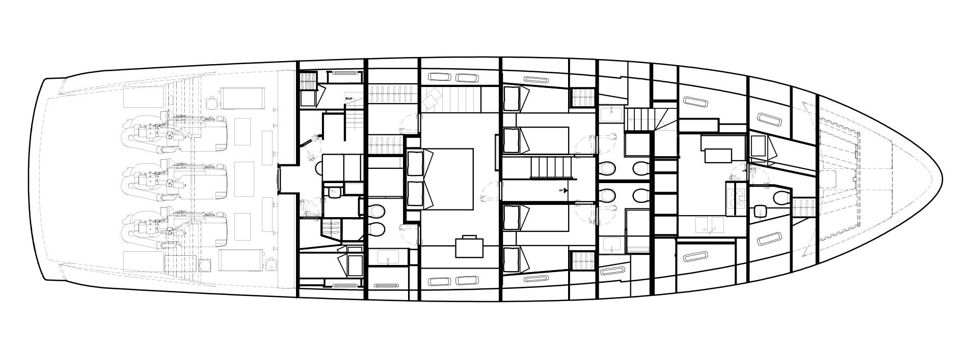 Sanlorenzo Yachts SX88 Нижняя палуба версия C