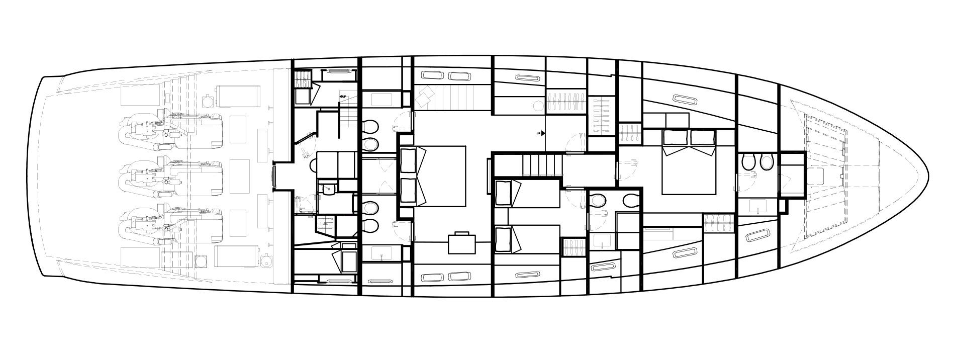 Sanlorenzo Yachts SX88 Нижняя палуба версия B